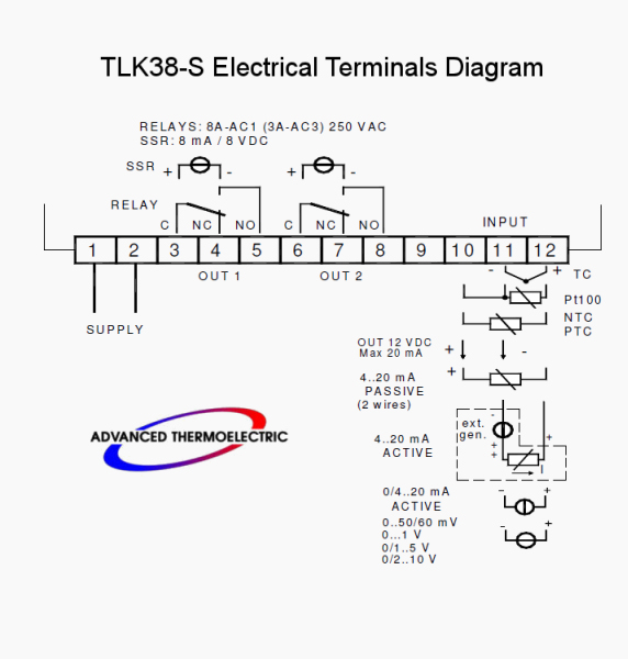 TLK38-S Electrical Terminal Diagram